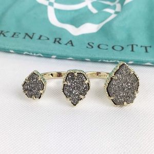 Kendra Scott Noami Drusy Double Ring Platinum